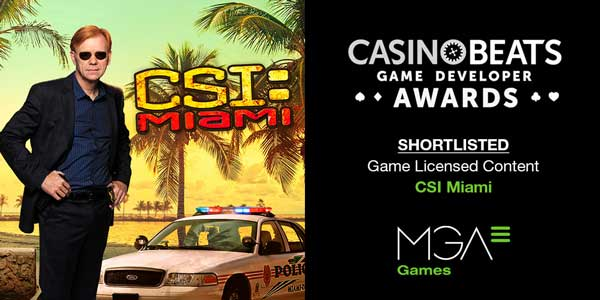 CSI Miami from MGA Games, shortlisted for the CasinoBeats Game Developer Awards