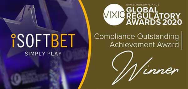 iSoftBet wins Compliance Outstanding Achievement Award at Vixio Global Regulatory Awards 2020